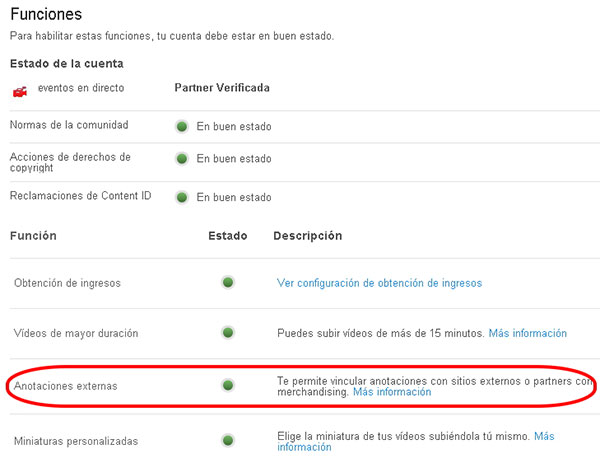 como poner anotaciones externas en Youtube