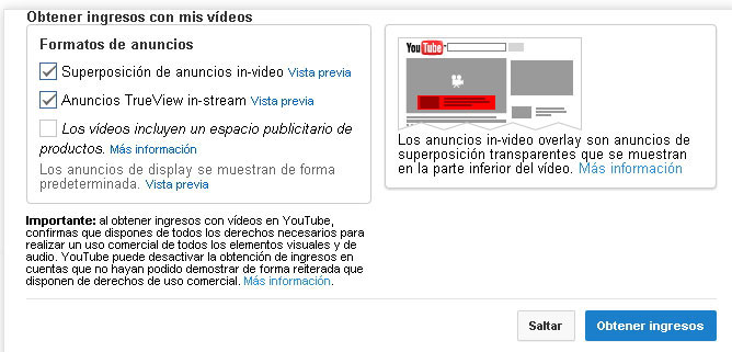 formatos de anuncios en Youtube