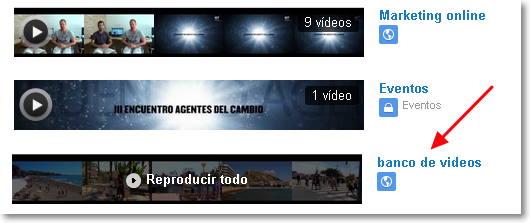 lista banco de vídeos