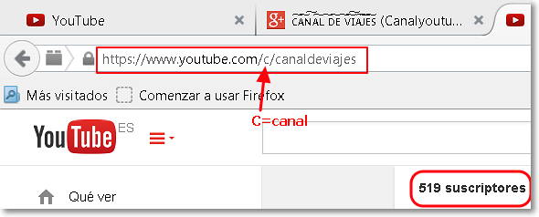 personalizar url canal youtube