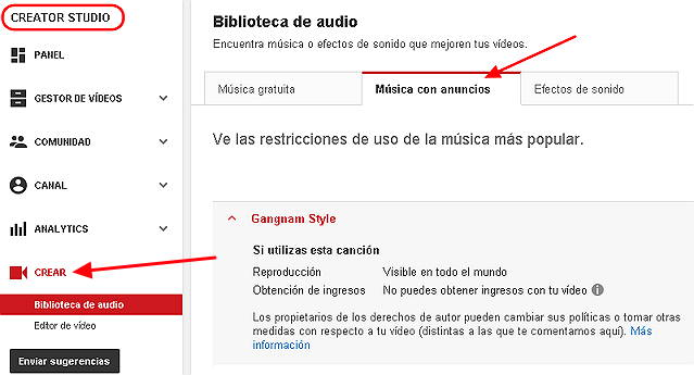 biblioteca de audio youtube