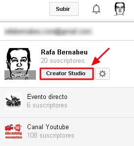 entrar en creator studio de youtube