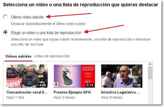 seleccionar video