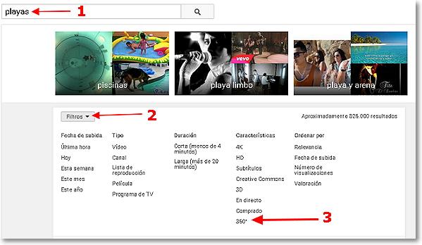 filtro de busqueda en youtube