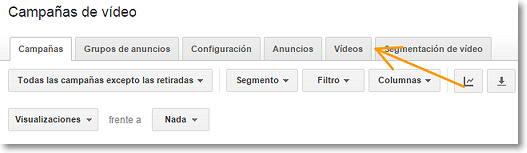 menu campañas de video en adwords