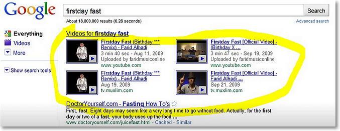 resultados en vídeo en google