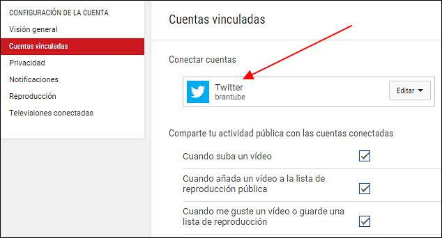 vincular twitter para streaming youtube