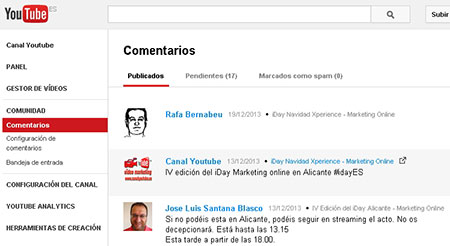 nueva funcion de comentarios en youtube