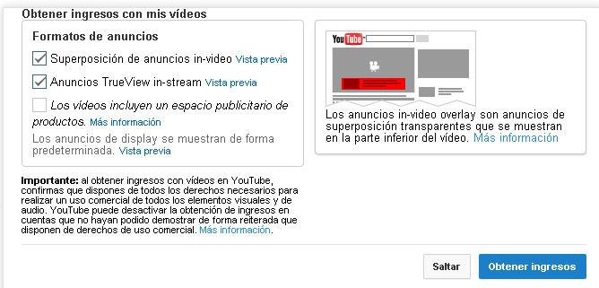 formatos de anuncios en Youtube