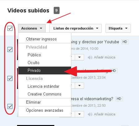 canal privado en youtube