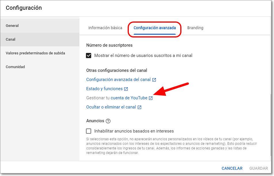 configuracion avanzada cuenta youtube privada