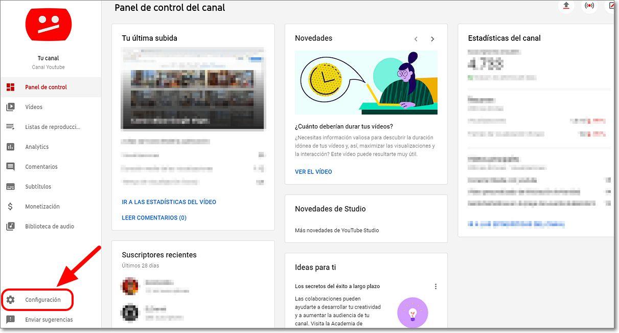 configuración youtube studio canal privado