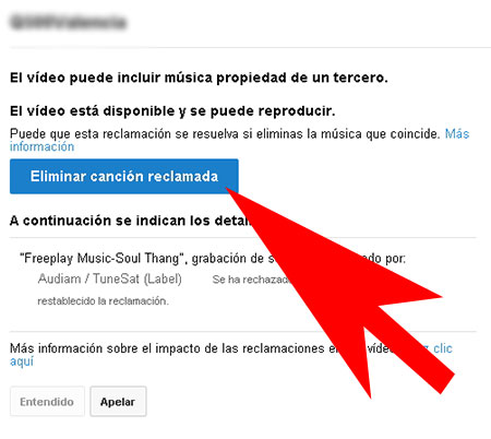 eliminar canción de youtube