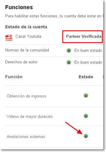 funciones verificadas en youtube