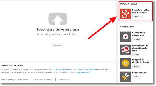 importar vídeos google +