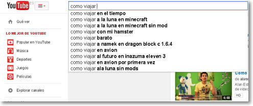 autocompletar Youtube