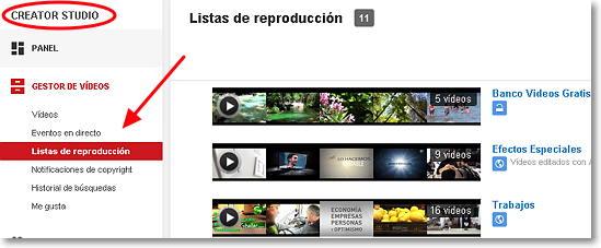 creator studio-lista de reproducción