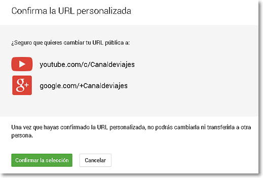 personalizar url youtube confirmar