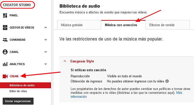 biblioteca de audio youtube