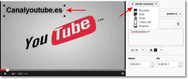 añadir anotacion en youtube