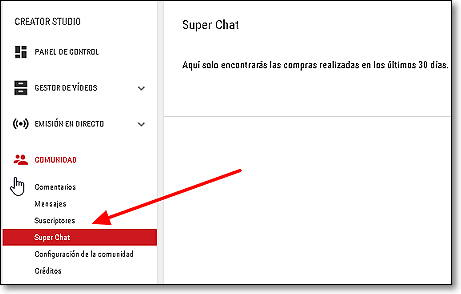 creator studio super chat