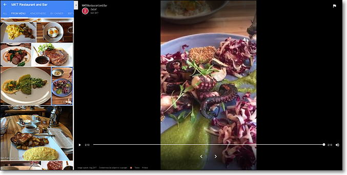 video comida en google maps