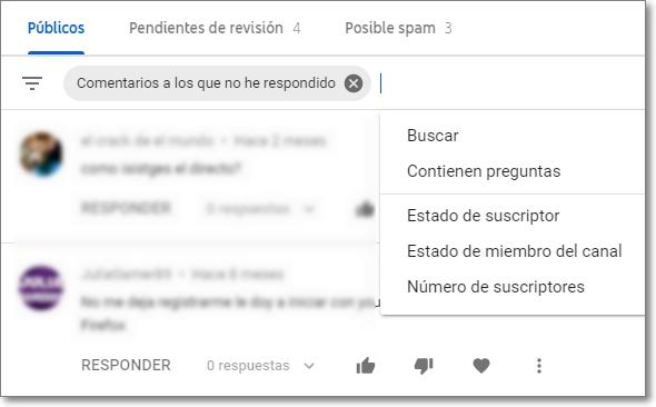 filtros en los comentarios de youtube