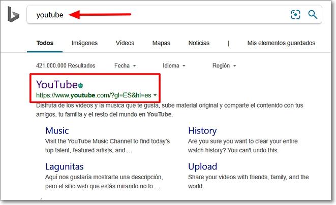 Buscar youtube en buscadores