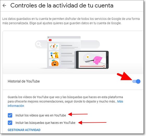 activar historial en Youtube