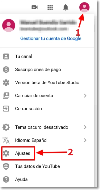 Ajustes de Youtube