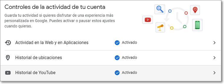 controles y actividad de Google