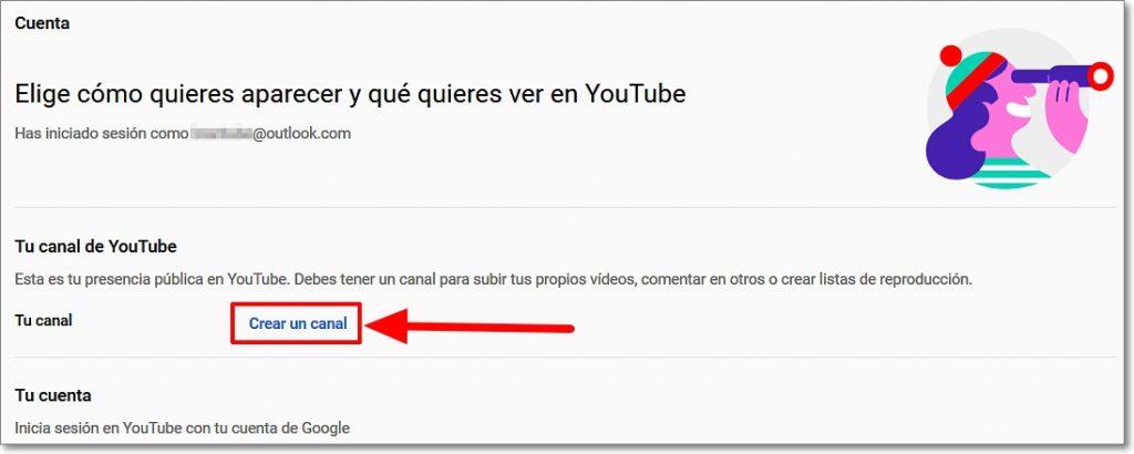 Crear cnal en Youtube en ajustes