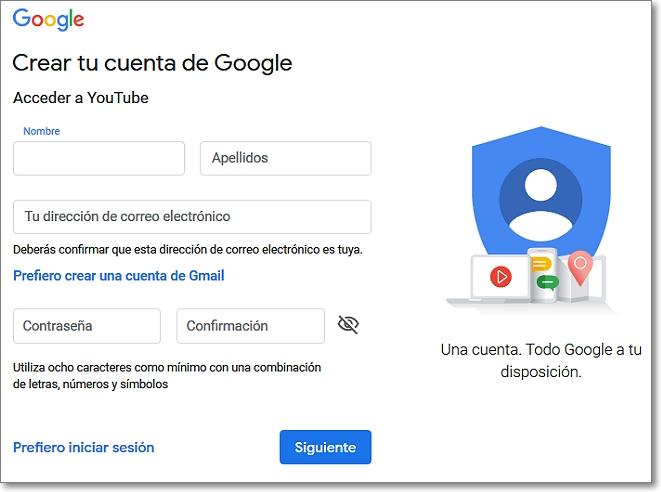Crear tu cuenta en Google para entrar en Youtube