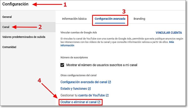 Configuración youtube studio