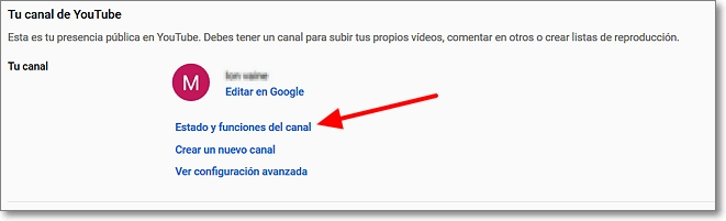 Estado y funciones del canal en Youtube