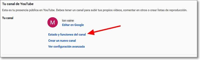 Estado y funciones del canal en Youtube