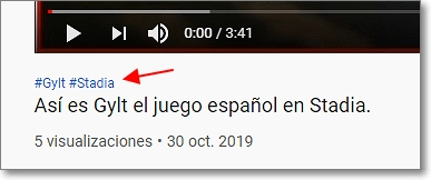 hashtag en youtube
