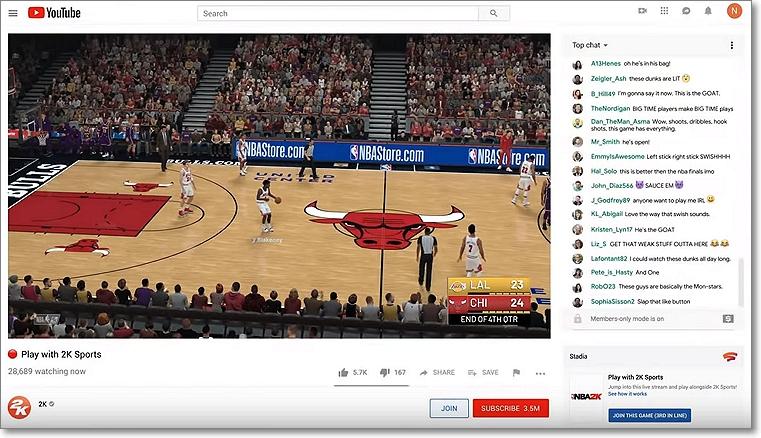 Jugar con Youtube en Stadia