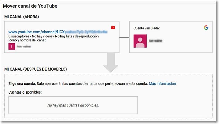 Mover canal a cuenta de marca en Youtube