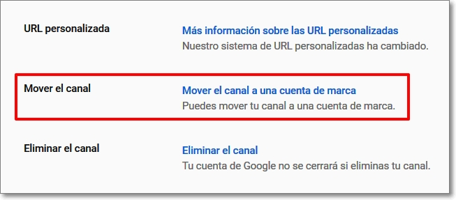 Mover el canal en Youtube