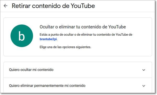 Eliminar el contenido de Youtube