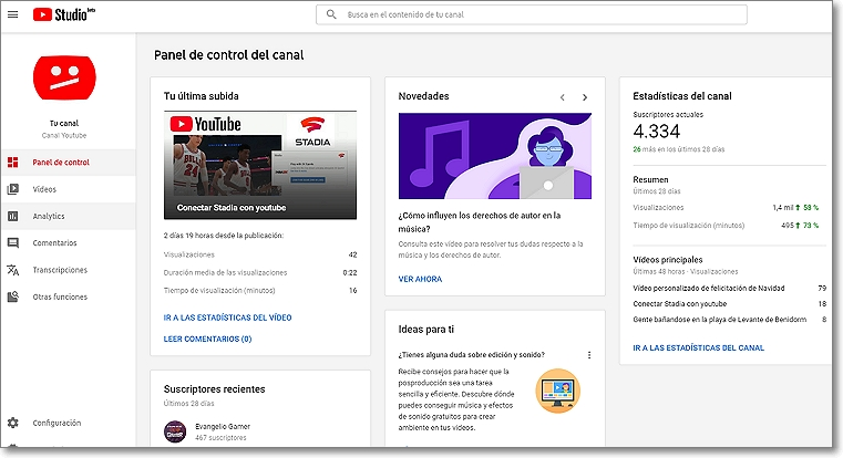 Panel control del studio youtube