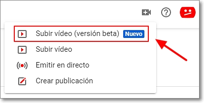 subir vídeos youtube version beta
