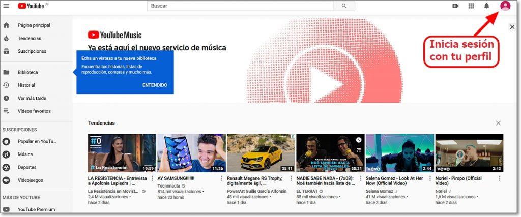 Tu canal en Youtube creado