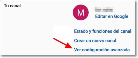 acceso configuración avanzada de youtube
