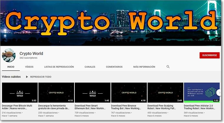 crypto world Canal con los vídeos con enlaces troyanos
