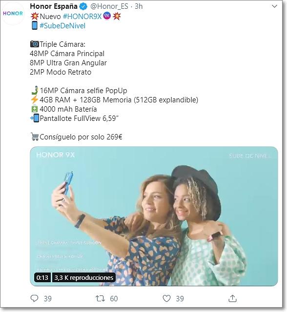 Huawei honor 9x twitter
