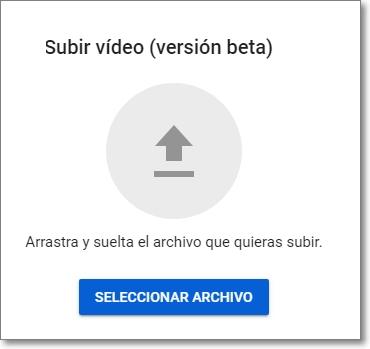 Nueva opción de subir vídeos a Youtube