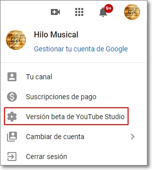 Enlace hacia Studio Youtube