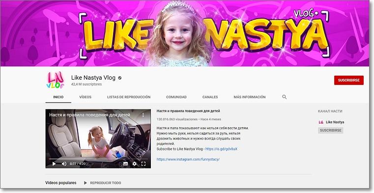 Canal en Youtube de Anastasia Radzinskaya